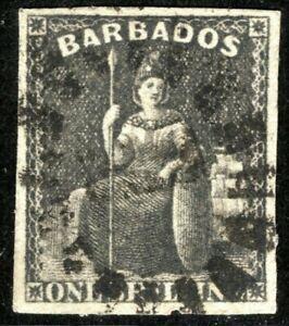 BARBADOS QV Stamp SG.47var 1s *ERROR IMPERFORATE* Britannia (1870) Used YBLUE57