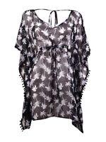 Miken Women's Pom-Pom Palm Kimono Swim Cover (L, Black/White)