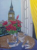 "original oil painting- Sleepy Cats by the window -  size 18"" x 24"" x 5/8"""
