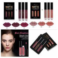 3 Pcs/Box Waterproof Matte Long-lasting Liquid Lipstick Cosmetic Sexy Lip Kit