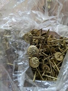 100+ NOS BRASS TACKS Vintage Upholstery Nails Round LION Heads Various Lengths