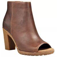 Timberland Women's Tillston High Heel Peep Toe Brown Leather Boots Bootie A1IE9