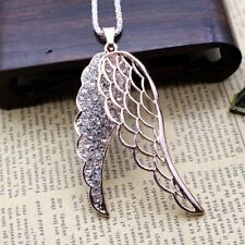 Fashion Women Crystal Angel wings Pendant Long Chain Sweater Necklace Gift