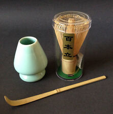 Japanese Tea Ceremony 100 Count Wisk Whisk, Chashaku Bamboo Scoop & Shaper Stand