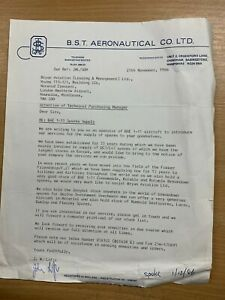 1986 BST AERONAUTICAL CO LTD LETTER TO OFFER SPARES TO HEATHROW AIRPORT