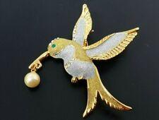 Tone Costume Brooch Vintage Hummingbird Rhinestone Gold