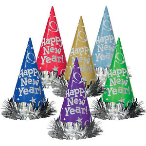 Happy New Year Jewel Tone Multi Coloured Cone Hats with Tinsel Fringe x 12