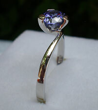 TANZANITE STONE  6.50MM  SOLITAIRE  RING  925 STERLING SILVER.SIZE I-Z2,