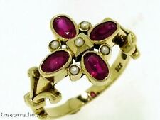 R268 Genuine 9ct SOLID Gold Natural Ruby & Pearl Blossom Flower Ring size O