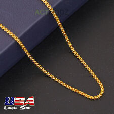 Luxury 24Inch 18k Gold Plated Round Box Chain Necklace Choker Easter Jewelry New