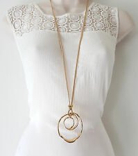 "Stunning 34"" long gold tone snake chain & huge swirl pendant necklace  C-8"