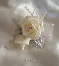 Spilla Da Sposa Su Bouquet color avorio e argento rose artificiali palla d'argento SPRAY MULTIFUNZIONE