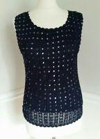 LBD Size 16 Navy Blue Crochet Knit Overlay Sequin Vest Top