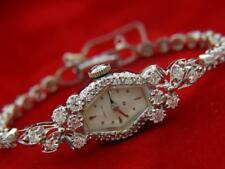 Estate Antique 1930's Hamilton 2ct Diamond 14K White Gold Hand Wind Ladies Watch