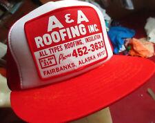 True Vtg 80s Fairbanks Alaska Roofing Graphic Red/White Mesh trucker Skater Cap