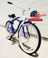 NEW Aluminum Bicycle Men Blue White Beach Cruiser Lowrider Spring Wide Seat Bike