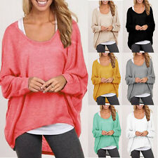 Womens Plus Size Long Sleeve Blouse Shirt Pullover Casual Baggy Loose Top Jumper