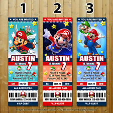 Super Mario Bros Custom Printed Ticket Birthday Invitations 20 with Envelopes