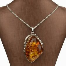 Thboxs Womens Jewelry Silver Plated Faux Amber Chain Drop Pendant Necklace