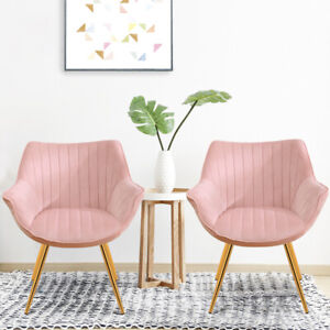 2PCS Baby Pink Velvet Oyster Dining Chairs Brass Legs Kitchen Armrest Chair Seat