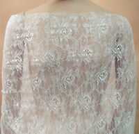 Off White Chantilly Floral Bridal Lace Fabric Dancing Dress Costume Tulle 0.5 Y
