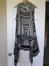 GNW Black/gray Aztec design long open waterfall front sweater Sz M