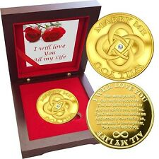 MARRY ME Engagement Coin  1 oz Gold layered Proof Silver, Swarovski Gem Rosewood