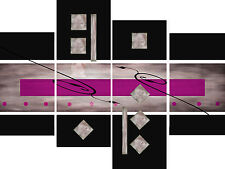 Large Pink Black Grey Abstract Canvas Picture Wall Art Split Multi 4 Panel Set