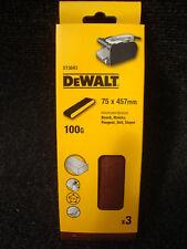 PACK OF 3 X DEWALT DT3643 75MM X 457MM SANDER SANDING BELTS 100GRIT