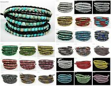Hot Colorful Handmade Mixed Crystal and Gemstones Beads Wrap Leather Bracelet