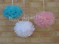 6x 30cm Blue Pink White Tissue Pom Poms Gender Reveal Baby Shower Decorations