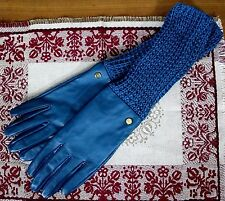 NEW ELEGANT SOFT BLUE GENUINE LEATHER LINED KNIT LONG CUFF LADIES GLOVES Sz M