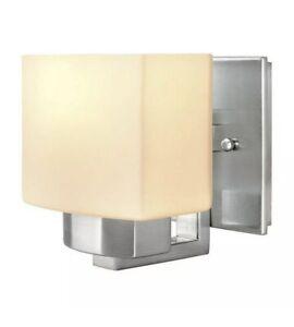 Hampton Bay Wall LED Light Nickel Glass Sconce Shade Dimmable Vanity Bathroom
