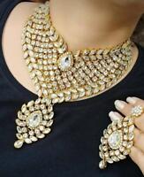 Indian Bridal Kundan Jewelry Bollywood Gold Tone Fashion Necklace Earring Set