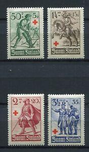 FINLAND DURING WW2 1940 RED CROSS SET SCOTT B39-B42 FACIT 226-229 PERFECT MNH