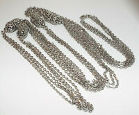 Vintage signed Monet SUPER LONG chain NECKLACE #3 costume jewelry silvertone