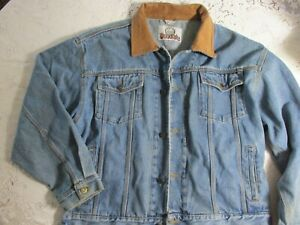 Vintage Men's Woodlake Denim Jacket Leather Collar X Large