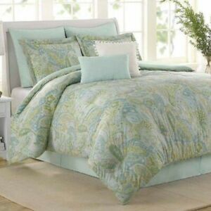 Williamsburg SEA GLASS Paisley 4P King Comforter Set shams bedskirt Blue