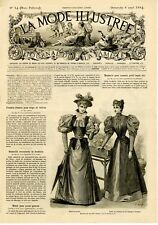 French MODE ILLUSTREE SEWING PATTERN April 8,1894 Ladies & child dresses