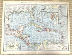 1910 Antique Map of The West Indies commercial Plantations Agriculture Crops Old