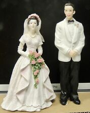 Vintage Bride  and Groom Cake Toppers w/Rose Bouquet Halter Wedding Dress NWB!