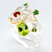 Fine Jewelry Antique vintage Natural Peridot 925 Sterling Silver Ring / RVS91