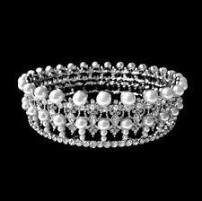 White Pearls  Clear Crystal Rhinestones Hollow Lacy Close Circle Crown