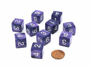 Pack of 10 D6 16mm Koplow Games Pearl Numbered Dice - Purple