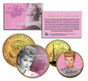LUCILLE BALL I Love Lucy 100th Birthday U.S. Genuine Legal Tender 2-Coin 24K Set