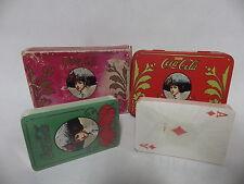 Antiguo objet publicidad Coca cola juego de postal 2 jeux caja metal y cartón