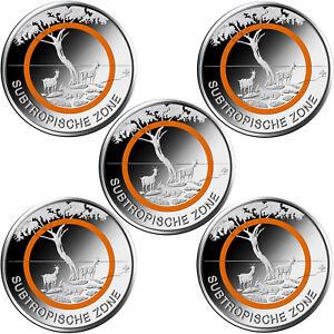 5 x 5 euros commémoratives ALLEMAGNE 2018 - Zone Subtropicale - ADFGJ - UNC