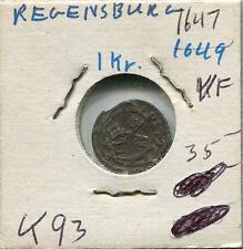 1647 German States Regensburg 1 Kreuzer KM#93 VF PA2 Germany Coin Rare K93