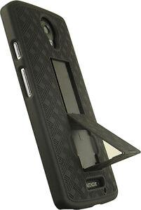 Black Kickstand Slim Case Hard Cover for Motorola Droid Turbo 2 (XT1585)