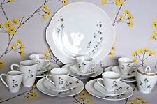 Monochrome black white Hutschenreuther Bavaria coffee/espresso cup set & plates.